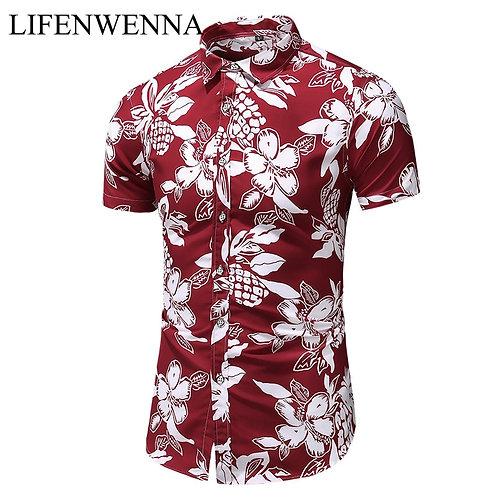Fashion Print Short Sleeve Hawaiian Shirt Male