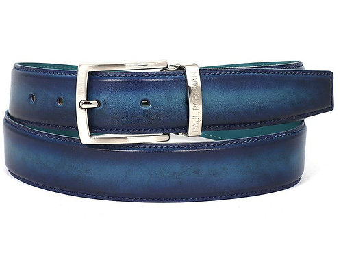 PAUL PARKMAN Men's Leather Belt Dual Tone Blue & Turquoise (ID#B01-BLU-TRQ)