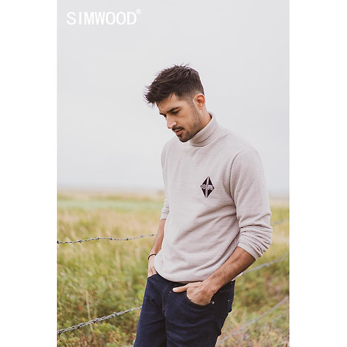 SIMWOOD 2019 Autumn Winter New Turtleneck Sweater Men Casual High Quality