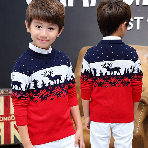 Famli Christmas Sweater for Kids Boy Teenager Autumn Winter Knitted Pullover