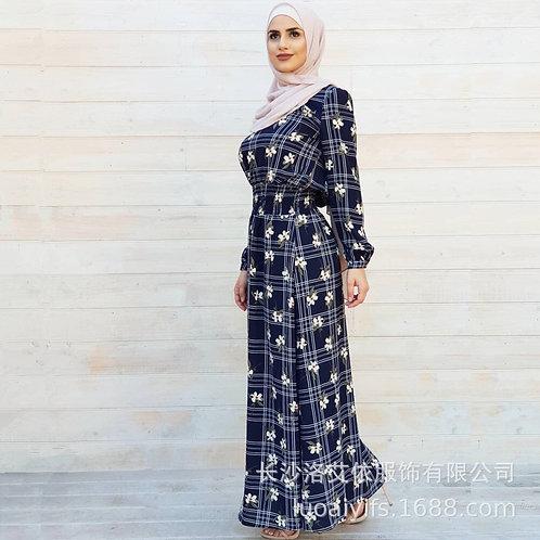 WEPBEL Women Long Dress New Printed Maxi Tunic Dress Muslim Abaya Fashion Plaid