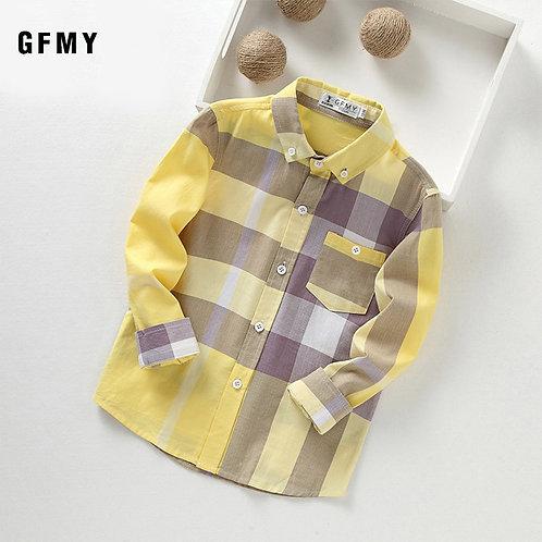 GFMY 2020 Summer 100% Cotton Full Sleeve Fashion Kids Plaid Shirt 3t-14t Casual