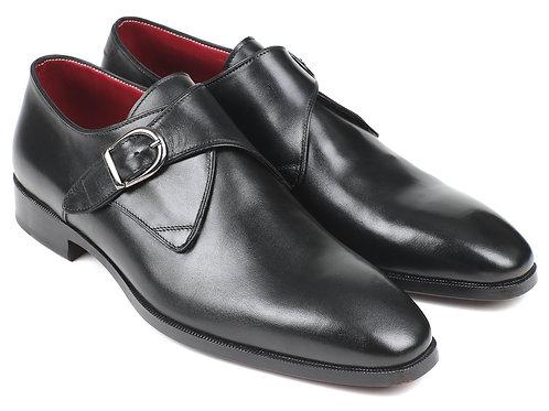 Paul Parkman Black Leather Single Monkstraps