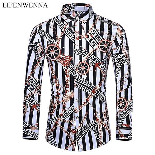 Casuals Shirt Men New Arrival Personality Printing Long Sleeve Shirts Mens