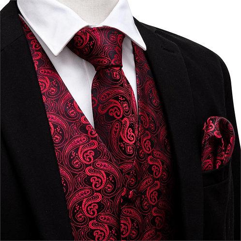 Men V-Neck Suit Vest Red Formal Waistcoat Paisley Tie Set Cufflinks Handkerchief