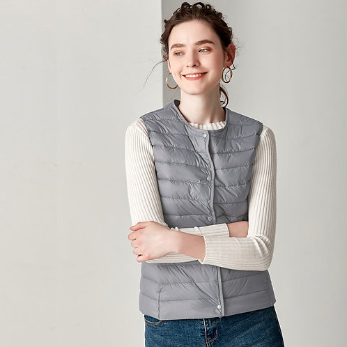 New Causal Women White Duck Down Vest Ultra Light Vest Jacket