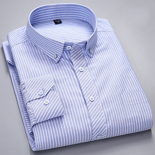 Men Long-Sleeve Plaid Striped Oxford Shirts Single Patch Pocket Premium Quality