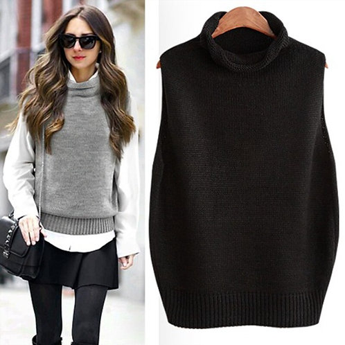 Women's Sleeveless Sweater High Neck Knitted Cashmere Vest Women's