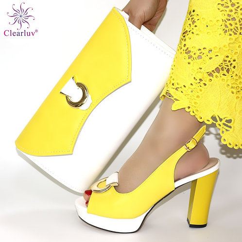 New Arrival Italian Shoes With Matching Bags Set Decorated Women Shoes