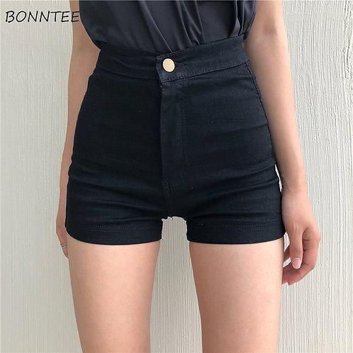 Shorts Women Black High Waist Skinny Elastic Korean Style for Womens