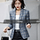 Thumbnail: Soft and Comfortable High-Quality Plaid Jacket With Pocket Office Lady  Blazer