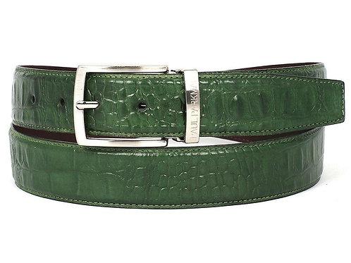 PAUL PARKMAN Men's Crocodile Embossed Calfskin Leather Belt Hand-Painted Green