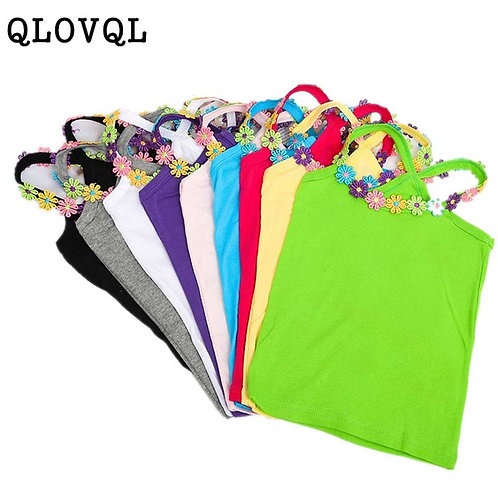 Summer Girl T Shirt Cotton  Flower Applique T Shirt for Girl Tops Tees Kids Baby