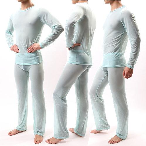 Sexy Men Pajamas Sets See Through Ice Silk T-Shirts No Seaming Tee Thin Man