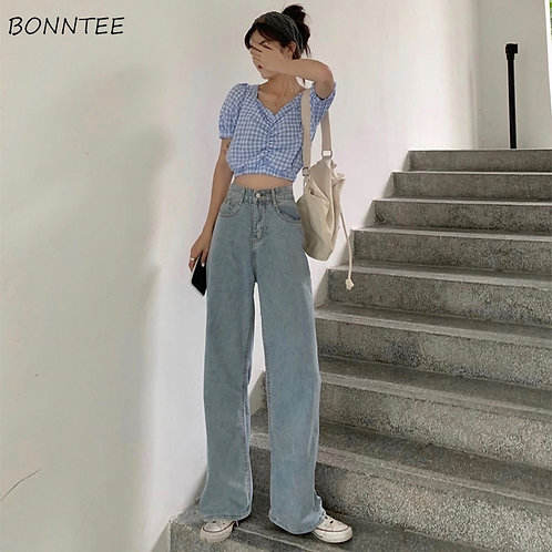 Jeans Women Full Length Wide Leg Denim Solid Vintage High Waist Jeans