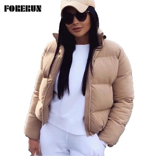 FORERUN Fashion Bubble Coat Solid Standard Collar Oversized Short Jacket