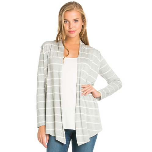 Stripe Cardigan -Grey