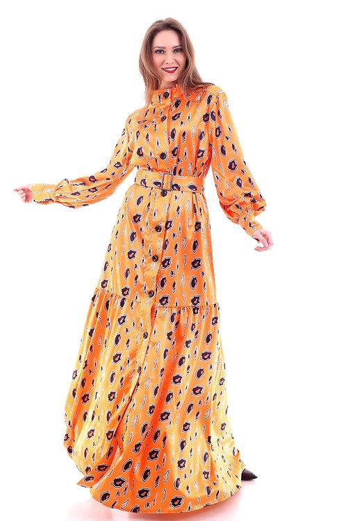 Orange Long Dress With Belt Women Plus Size Long Sleeve Closed-Neck