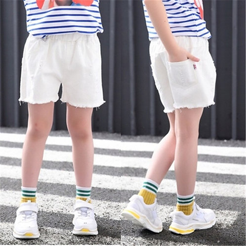 Baby Teenager Shorts Summer Denim Shorts for Girls White Pink Teens Girl Short