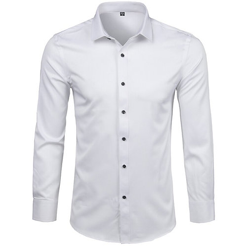 Fiber Dress Shirts Casual Slim Fit Long Sleeve Comfortable Non Iron Solid