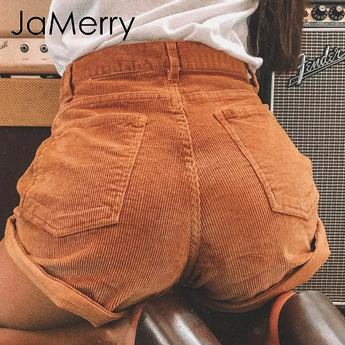 Vintage Corduroy High Waist Shorts Bottoms Women Casual Streetwear Shorts