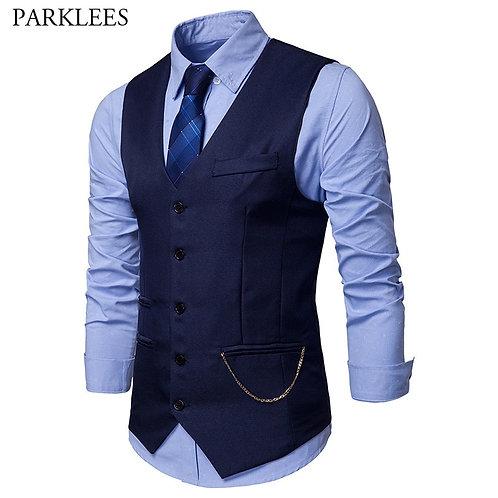 Mens Slim Fit Single Breasted Suit Vest Chaleco Hombre Fashion s Waistcoat Men