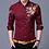 Thumbnail: Brand Wine Red Mens Dress Shirts  Golden Rose Flower Print Button Down Shirt Men