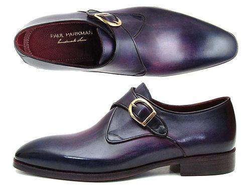 Paul Parkman Single Monkstrap Shoes Purple Leather