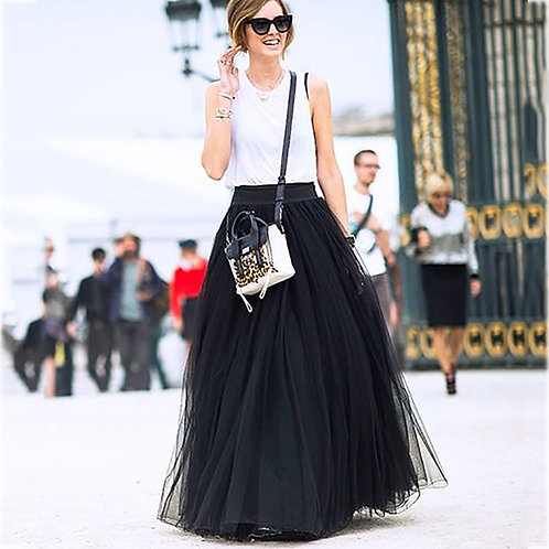 4 Layers 100cm Maxi Long Tulle Skirt