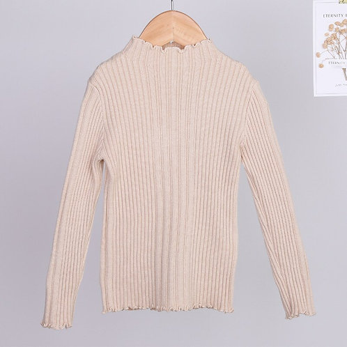 2019 Autumn New Baby Knit Shirt Girls Tops Turtleneck Elastic Kids Knitted Shirt
