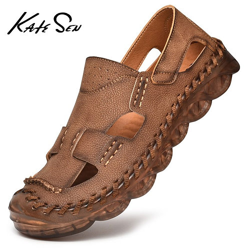 Summer Genuine Leather Men's Sandals Handmade Classic Slippers Walking Beach