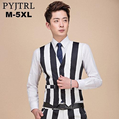 PYJTRL Fashion Casual Black White Stripe Nightclub DJ Singer Stage Waistcoat