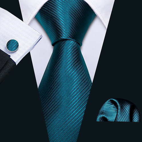 Teal Men Tie Blue Solid Necktie Gravat / Men Wedding Gift Business