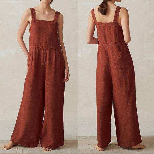 Plus Size Line Overalls Women's Summer Jumpsuits Casual Suspender Wide Leg Pants