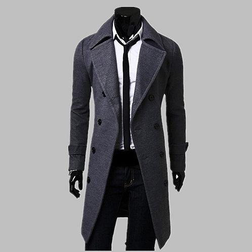 Fashion Men Trench Coat Men Gray Long Coat Winter Cool Famous Brand Mens