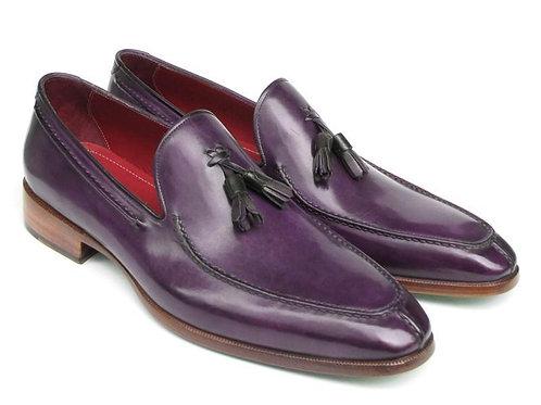 Paul Parkman Men's Tassel Loafer Purple Hand Painted Leather