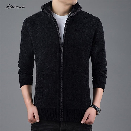Liseaven Sweater Thick Warm for Mens Cardigan Slim Fit Jumpers Knitwear