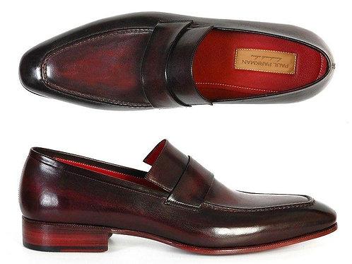 Paul Parkman Men's Loafer Purple & Black Hand-Painted Leather
