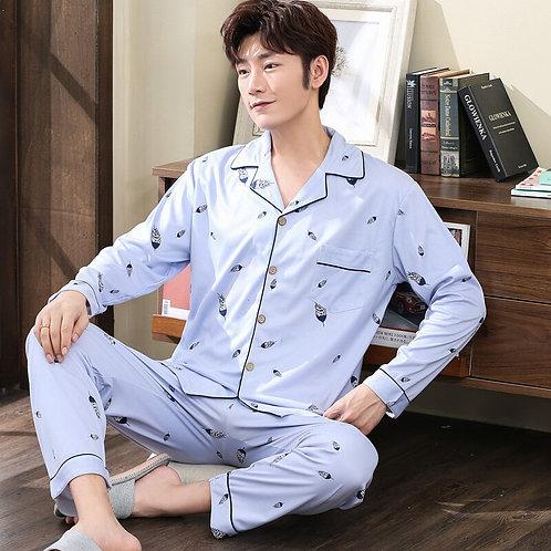 New Style Men's Pajamas Set Autumn Winter Warm Cotton Male Pajamas Sets