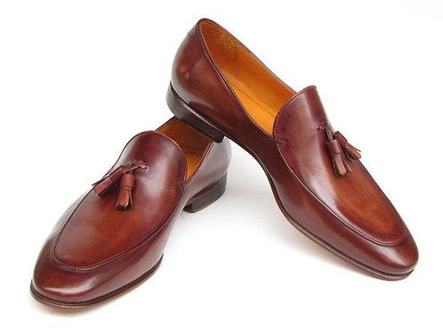 Paul Parkman Men's Tassel Loafer Brown Hand Painted Leather