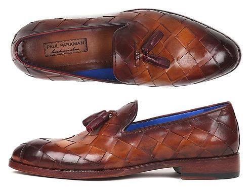 Paul Parkman Men's Big Braided Tassel Loafers Brown