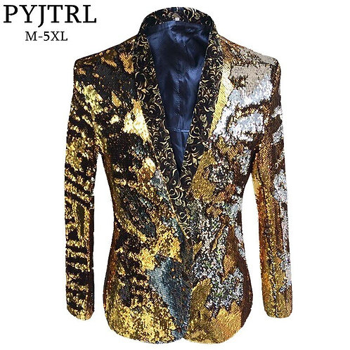 Double Color Sequins Coat Suit Jacket / Flip Paillette Blazer