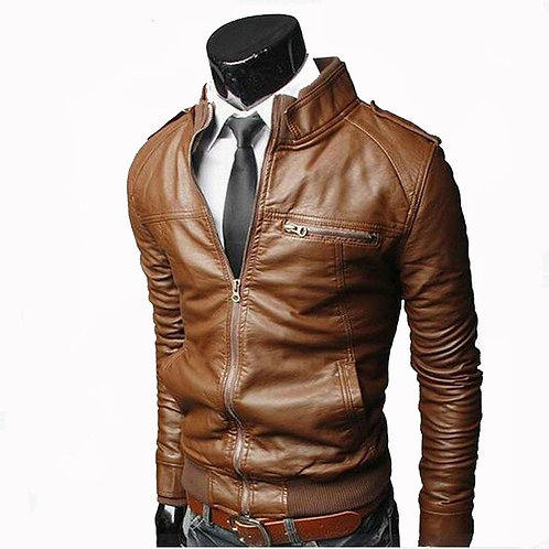 Men Faux Leather Jacket Zippers Men's Stand Collar Coat Casual Slim PU Jacket