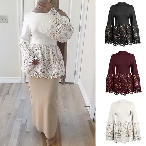 2019 Women Flower Lace Tops Patchwork Muslim Islamic Arab Tunic Bell Sleeve