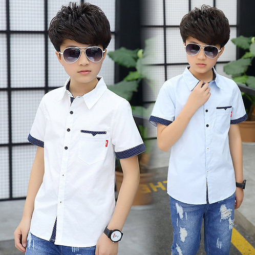 School Boys Shirts Short Sleeve Blouses for Boys Children Clothing Cotton