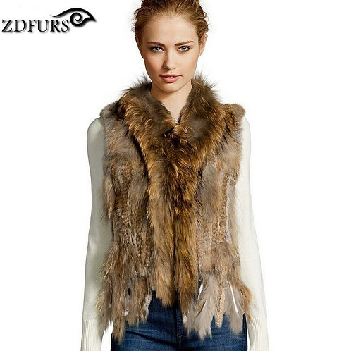 Knitted Rabbit Vest Raccoon Dog Fur Collar  Knitted Vest Rabbit Fur Waistcoat
