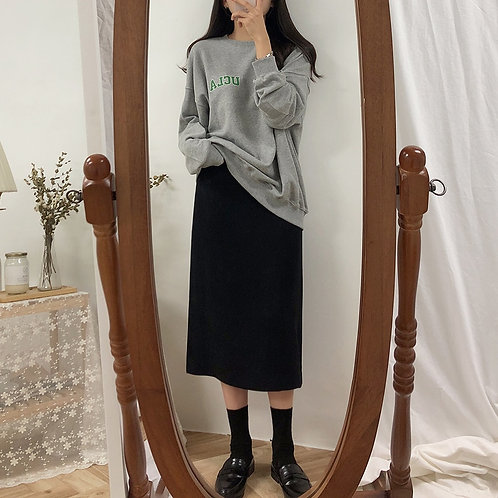 Solid Black Brown Mid Calf Women Skirt Vintage Spring Summer Straight Skirt