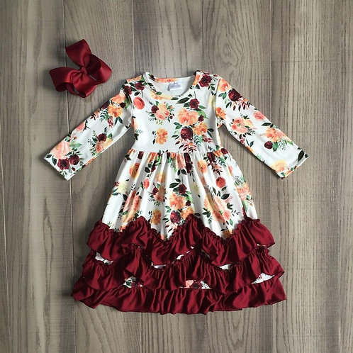 Autumn Fall/Winter Girls Clothes Wine Burgundy Floral Flower Milk Silk Ruffle