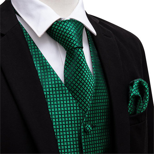 Green Suit Vest Men Paisley Waistcoat Plaid Silk Tie  for Wedding Vests