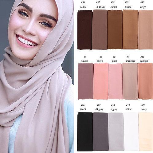 High Quality Bubble Chiffon Scarf Women Muslim Hijab Scarf Shawl Wrap Solid